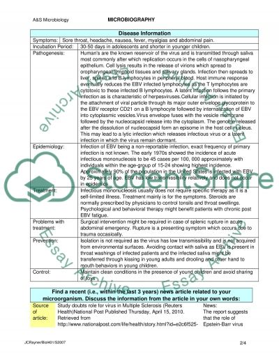 Microbiography essay example