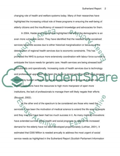Sutherland Report Essay example