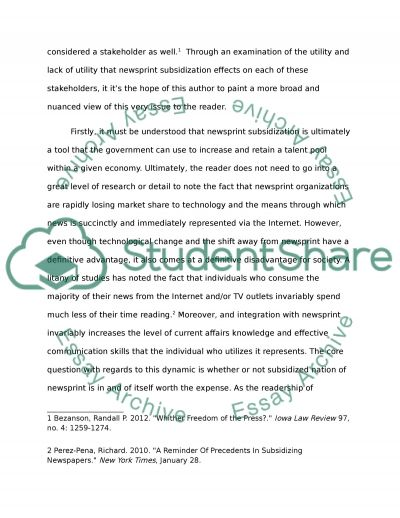 Subsidy in the Newspaper Industry essay example