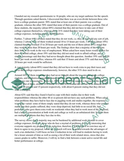 College students need tax deductions - response to questionnaire essay example