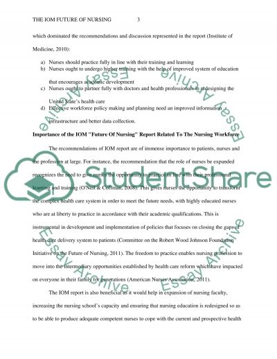 Implementation of the IOM Future of Nursing essay example