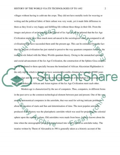 history of the world  via its technologies up to 1492. Essay example