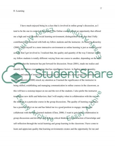 E-learning that is a Reflection on an Online Issue essay example