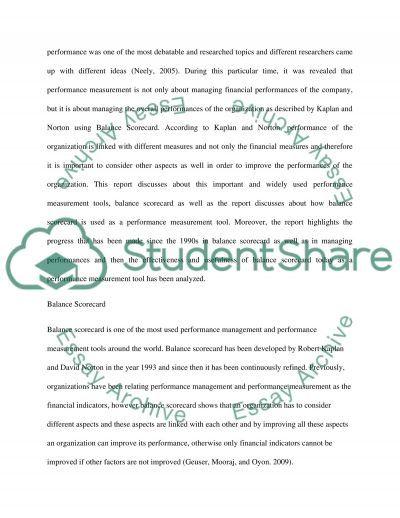 Management Accounting: Performance Evaluation (Balanced Scorecard) essay example