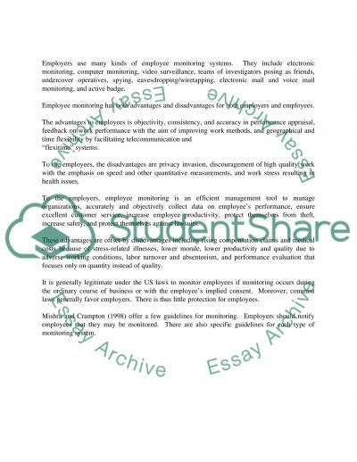 Employee Monitoring at work essay example