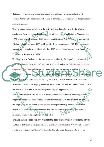 Employment Relations essay example