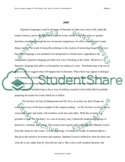 The Necklace and Story of an Hour essay example