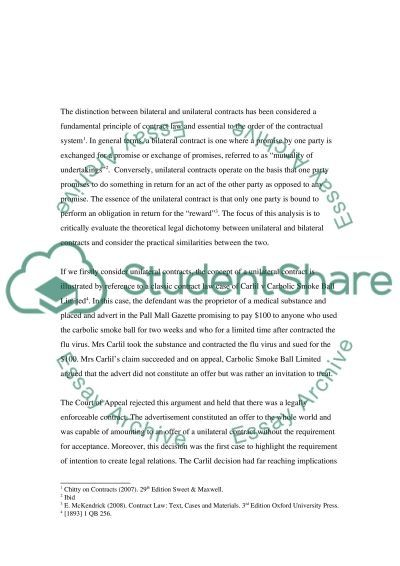 Unilateral and bilateral contracts essay example