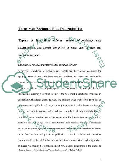Theories of Exchange Rate Determination essay example