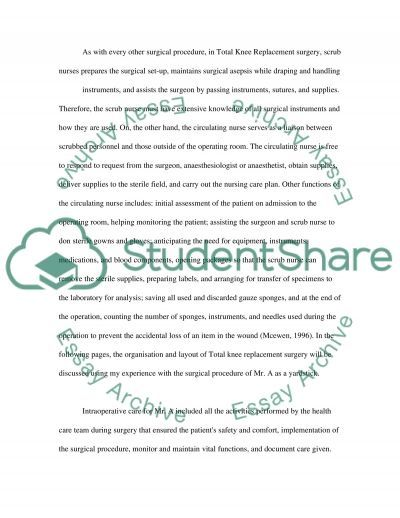 Care of Patient Undergoing Total Knee Replacement Surgery essay example