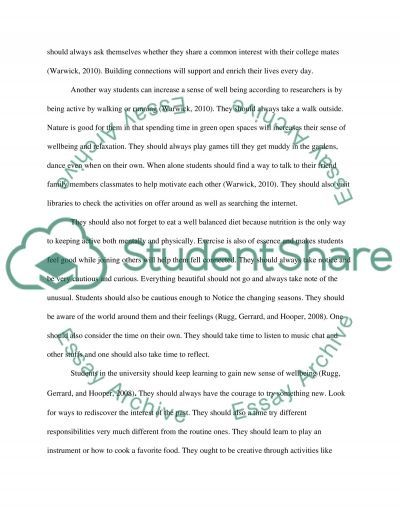 Wellbeing in college  Essay example