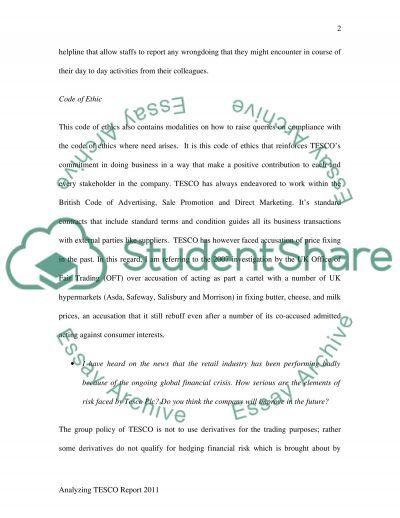 TESCO Annual Report 2011 essay example