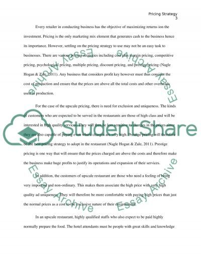 Marketing - Pricing Strategy Essay example