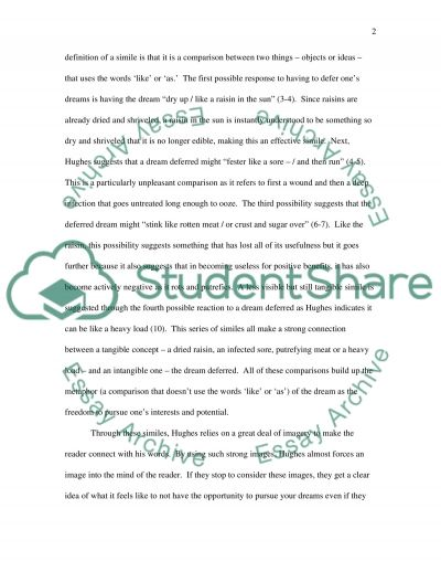 Written Response to a poem (English Literature class) essay example