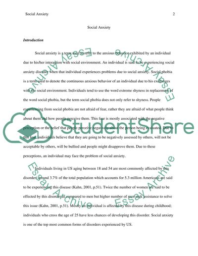 Research paper generalized anxiety disorder