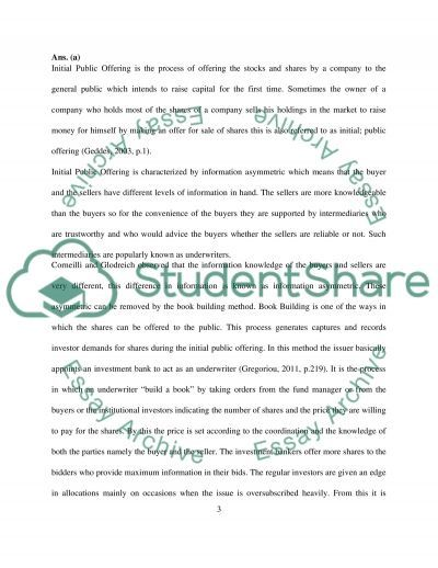 Corporate Finance/the corporate form and initial public offerings essay example