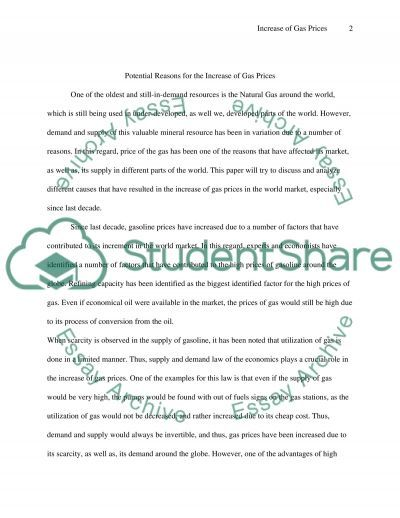 Increase of Gas Prices Essay example