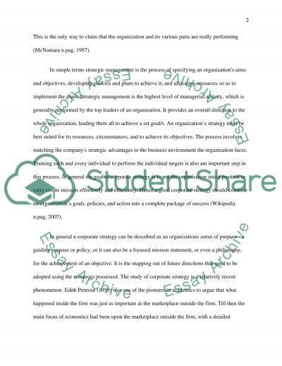 Strategic Management Process essay example