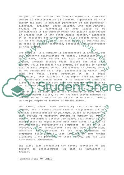 Comparative Company Law essay example
