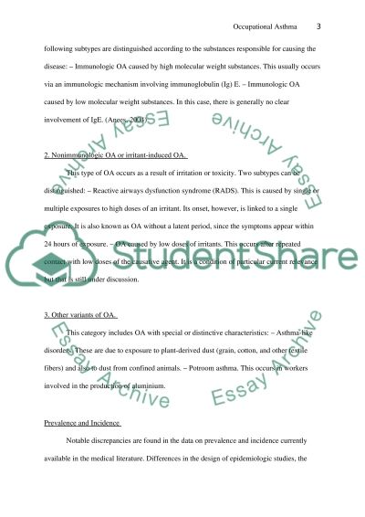 Occupational Asthma essay example