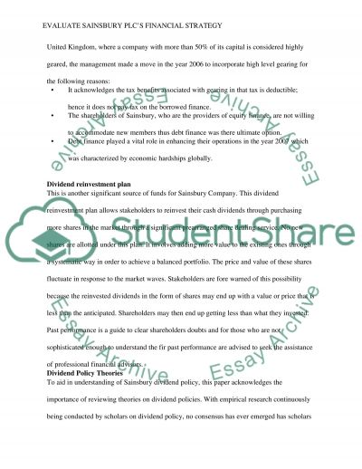 Evaluate Sainsbury plcs financial strategy essay example
