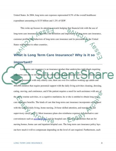 long term care ltc essay