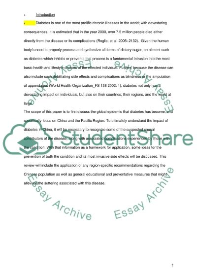 Cause and Prevention Diabetes (China) essay example