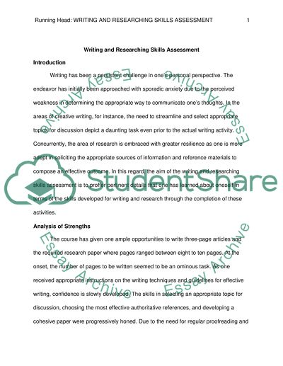Writing and Researching Skills Self-Assessment