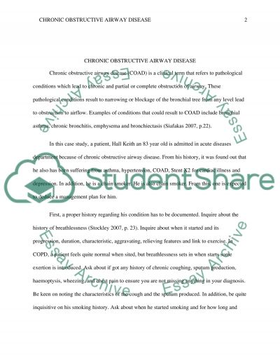 COAD (Coronary Obstructive Airway Disease) essay example