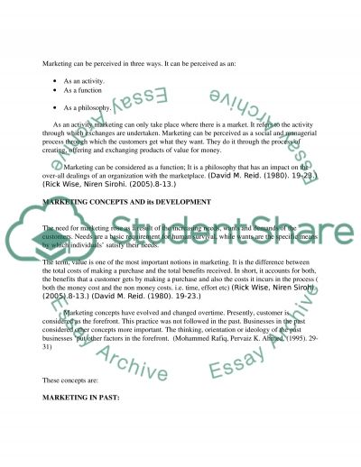 Marketing - past, present and future essay example