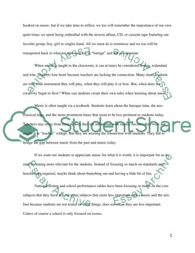 Music in Arts Education essay example