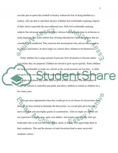 Single sex schools essay example