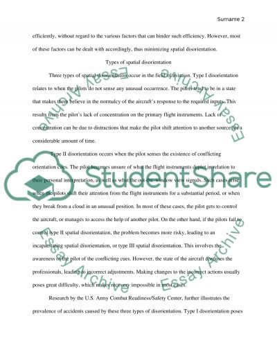 Spatial Disorientation for Pilots essay example