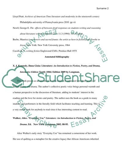 10-entry bibliography and5-work annotated bibliography