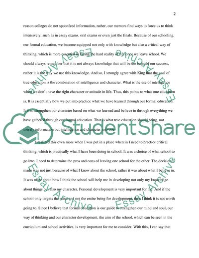 Personal Statement on Education