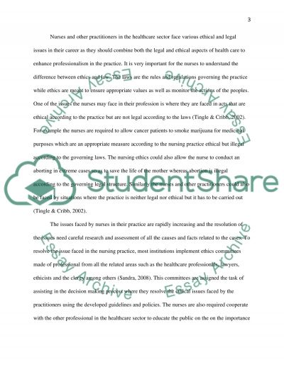 Ethical issue and its relationship to the ethical and legal aspects of nursing or other health care professions essay example