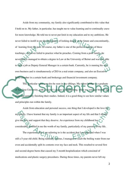 Personal Development Admission/Application Essay