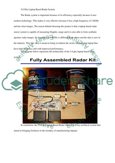 5.8 Ghz Laptop Based Radar System essay example