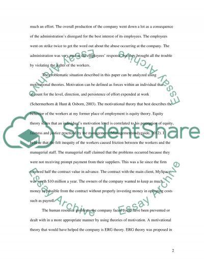 Motivational problem essay example