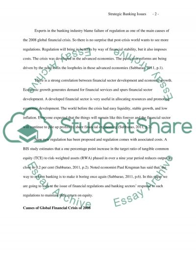 Strategic Banking Issues Regulations and Profitability essay example