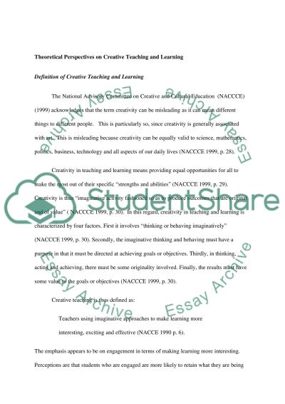 Interface Between Theory And Practice In Reflecting On Creative Teaching And Learning essay example