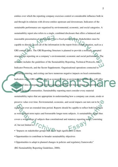 Corporate sustainability reporting essay example