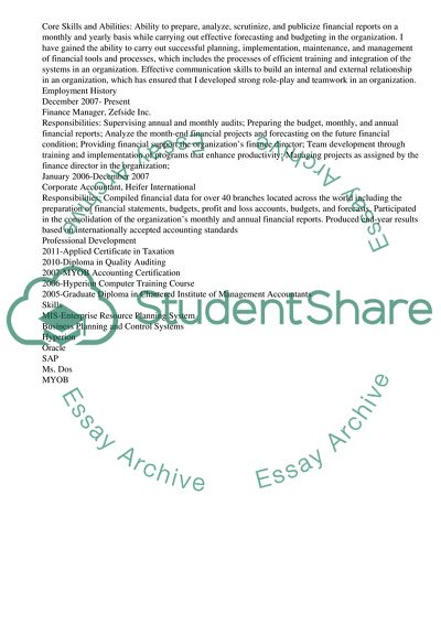 Applying for the Position of Finance Manager Resume/CV