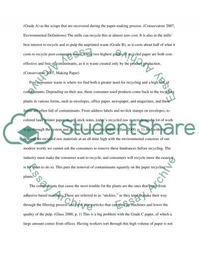 Contaminants in Recycled Paper Essay example