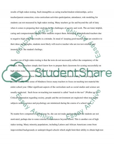 The use of High Stakes Test to Evaluate Teachers essay example