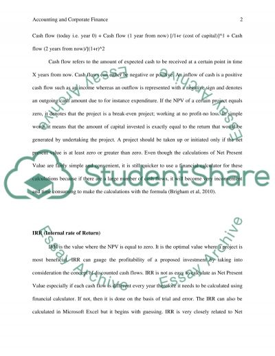 Accounting and Corporate Finance essay example
