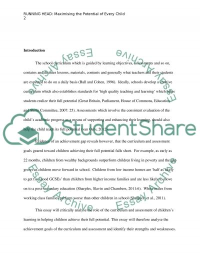 The Role of the School Curriculum and the Assessment of Childrens Learning essay example