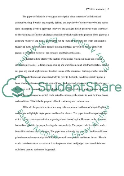 Data warehouse Essay Example | Topics and Well Written