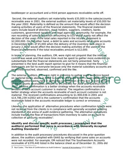 Auditing case assignment Study Example | Topics and Well