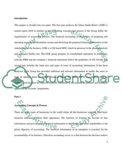GlaxoSmithKline Finance and Accounting Essay